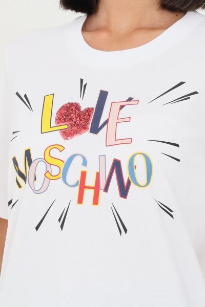 LOVE MOSCHINO T-shirt donna bianco love moschino con stampa sul fronte  T-shirt | W4F153EM3876A00