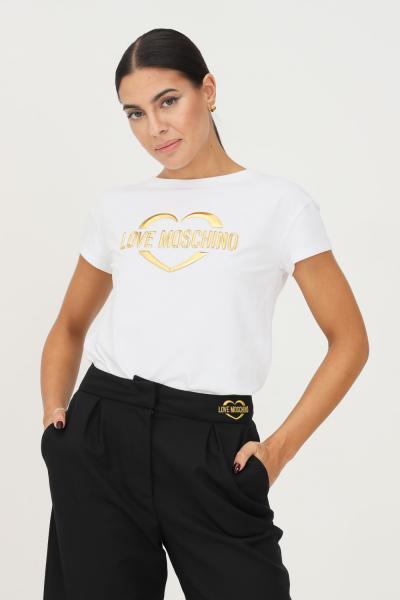 LOVE MOSCHINO T-shirt donna bianco love moschino a manica corta con applicazione logo oro frontale  T-shirt | W4F302RE1951A00
