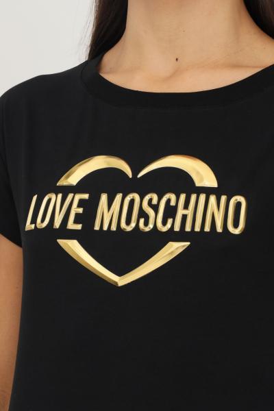 LOVE MOSCHINO T-shirt donna nero love moschino a manica corta con applicazione logo oro frontale  T-shirt | W4F302RE1951C74