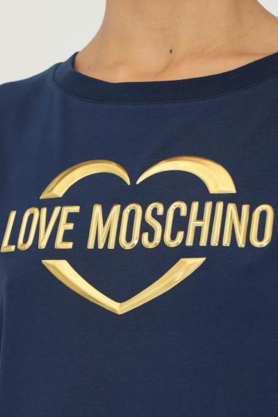 LOVE MOSCHINO T-shirt donna blu love moschino a manica corta con applicazione logo oro frontale  T-shirt | W4F302RE1951Y63