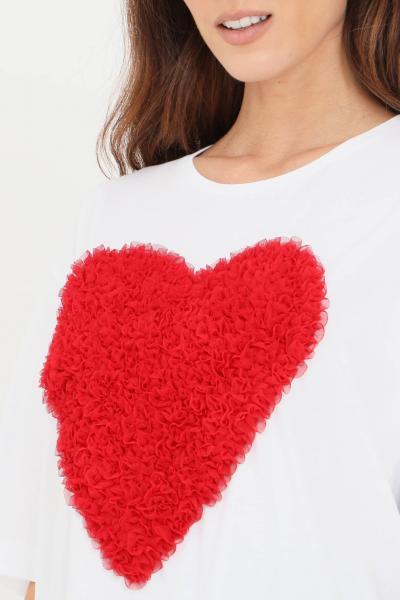 T-shirt donna di colore bianco con cuore in rouches  T-shirt | W4F8742M35174003