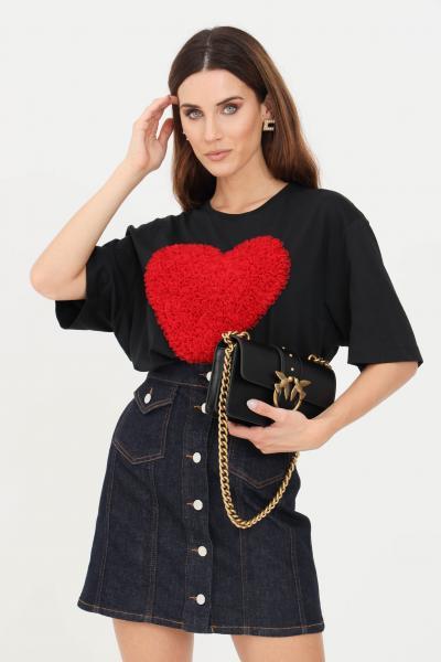 T-shirt donna di colore nero con cuore in rouches  T-shirt | W4F8742M35174005
