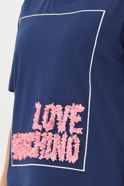 LOVE MOSCHINO T-shirt donna blue love moschino con lettering a rouches  T-shirt | W4H0614M3517Y58