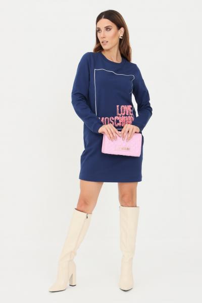 Abito felpa donna d colore blue con logo in rouches  Abiti | W584718E2269Y58