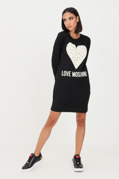 LOVE MOSCHINO Abito donna nero love moschino corto con stampa cuore frontale  Abiti | W584719E2288C74