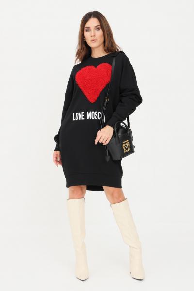 Abito felpa donna di colore nero con cuore in rouches  Abiti | W5A4806M40554005