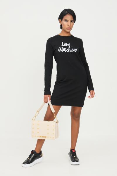 LOVE MOSCHINO Abito donna nero love moschino con stampa logo a contrasto  Abiti | W5C0002E2288C74