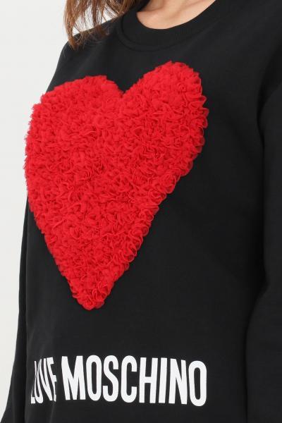 Felpa girocollo di colore nero donna con cuore in rouches  Felpe | W630645M40554005
