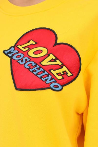 LOVE MOSCHINO Felpa giallo donna love moschino con patch cuore  Felpe | W630680M4055I60