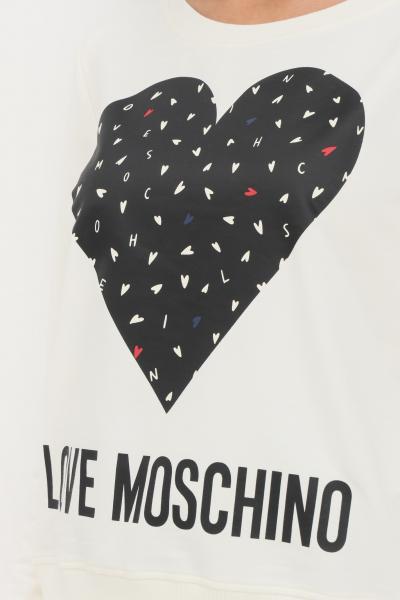 LOVE MOSCHINO Felpa panna donna love moschino con maxi stampa sul fronte  Felpe | W632208E2288A12