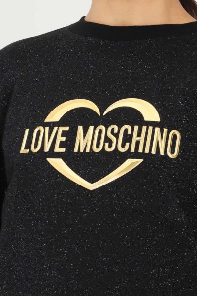 LOVE MOSCHINO Felpa donna nero love moschino girocollo con glitter allover  Felpe | W645301M4308C74