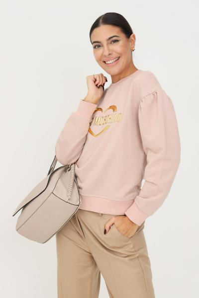 LOVE MOSCHINO Felpa donna rosa love moschino girocollo con glitter allover  Felpe | W645301M4308M12