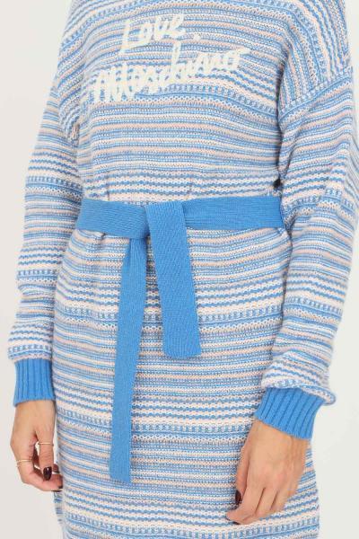 LOVE MOSCHINO Abito donna in maglia azzurro love moschino con fondo e polsini a coste  Abiti | WS64R11XA1184058