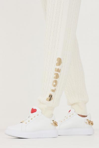LOVE MOSCHINO Pantaloni donna bianco love moschino slim in maglia  Pantaloni | WS65R11X1449A01
