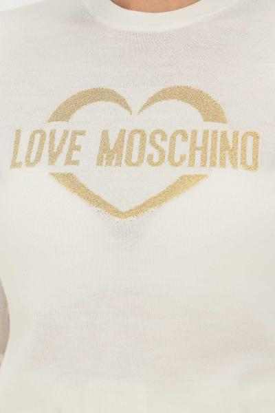 LOVE MOSCHINO Maglioncino bianco donna love moschino con ricamo sul fronte oro  T-shirt | WS87G10X1376A02