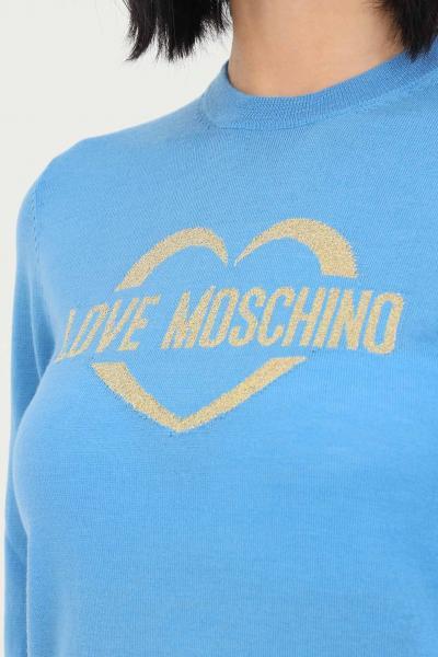 LOVE MOSCHINO Maglioncino donna azzurro love moschino con ricamo oro frontale  T-shirt | WS87G10X1376Y08