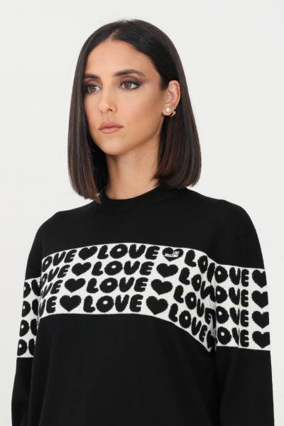 LOVE MOSCHINO Maglioncino donna nero love moschino con banda logata  T-shirt | WS97G11X1148C74