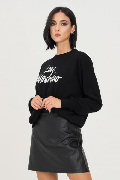 LOVE MOSCHINO Maglioncino donna nero love moschino a girocollo con logo ricamato a contrasto  T-shirt | WS98G11X1148C74