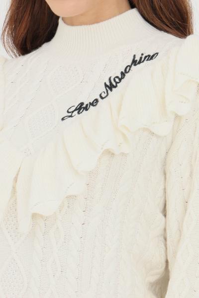 LOVE MOSCHINO Maglioncino donna panna love moschino con balze sul fronte  T-shirt | WSD2211X1439A02
