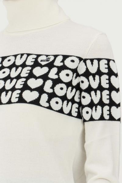 LOVE MOSCHINO Maglioncino panna donna love moschino con trama pattern cuori  T-shirt | WSD2311X1148A01