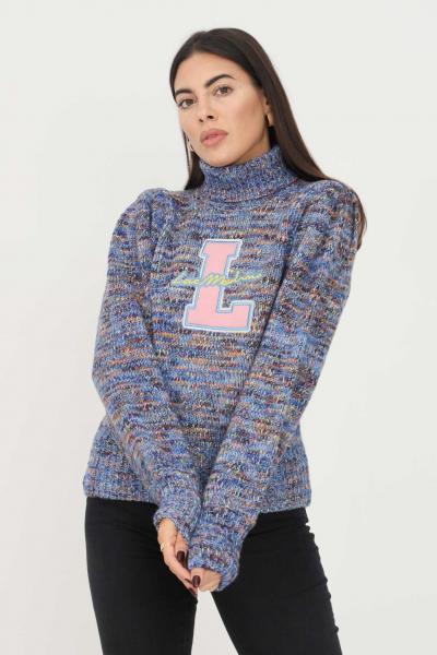 LOVE MOSCHINO Maglione donna azzurro love moschino con ricamo logo frontale  T-shirt | WSD2411XA1174048