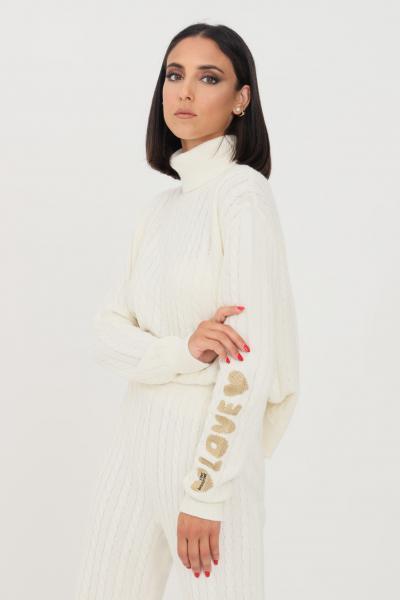 LOVE MOSCHINO Maglioncino donna bianco love moschino a collo alto  T-shirt | WSD2711X1449A01