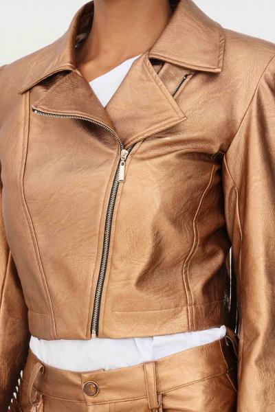 MATILDE COUTURE Giacca in pelle bronzo matilde couture con applicazione frange  Giubbotti | GILDA.BRONZO