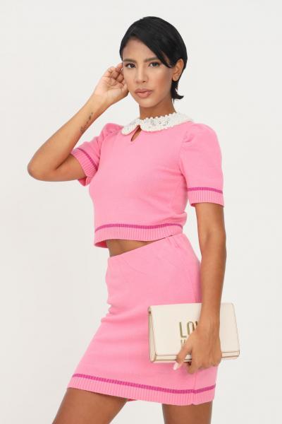 MATILDE COUTURE Maglioncino rosa donna matilde couture con colletto di perle  T-shirt | MAYA.ROSA
