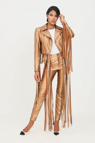 MATILDE COUTURE Pantaloni bronzo donna matilde couture con frange  Pantaloni | PENELOPE.BRONZO