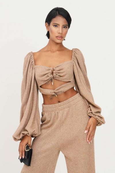 MATILDE COUTURE Top cammello donna matilde couture corto in lurex  Top | TRINITY.CAMMELLO