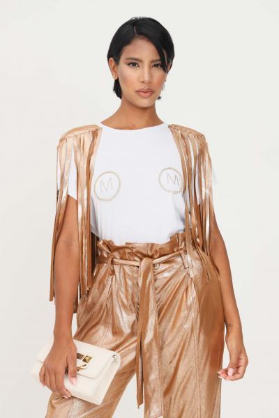 MATILDE COUTURE T-shirt bianco donna matilde couture con frange bronzo  T-shirt | TUSA.PANNA
