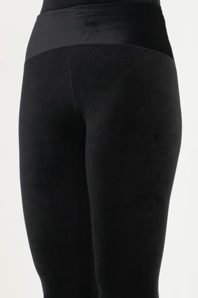 MATINèE Leggings nero firmato matinèe in velluto, taglio aderente con staffe  Leggings | DP2001NERO