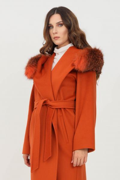 MAX MARA Cappotto lungo donna arancio max mara con cappuccio  Cappotti | 60162813600005