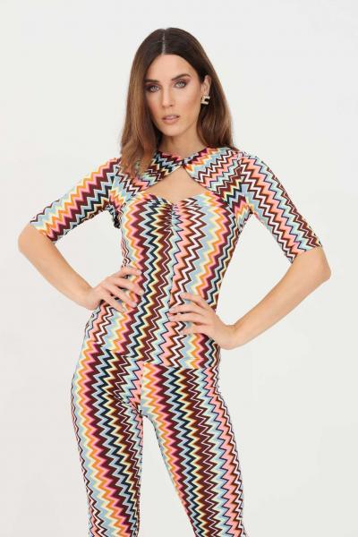T-shirt donna multicolor con stampa geometrica  T-shirt | 2DK00109SM59B