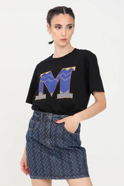 T-shirt donna nero a manica corta con ricamo blu logo frontale  T-shirt | 2DL00102-B93911