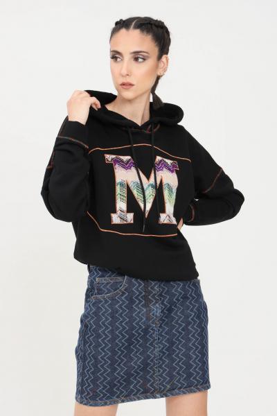 MISSONI Felpa donna nero missoni con cappuccio e logo ricamato frontale  Felpe | 2DW0000993911