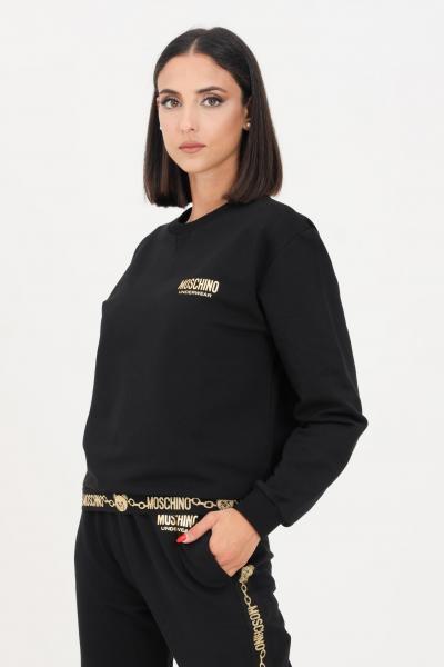 MOSCHINO Felpa donna nero moschino a girocollo con logo glitter oro  Felpe   A173690110555