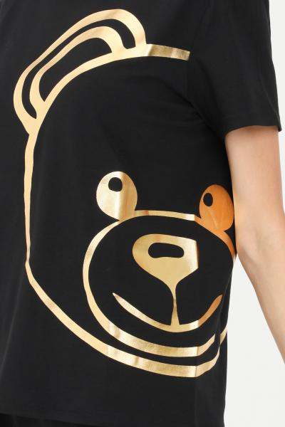 T-shirt donna nero con maxi logo oro  T-shirt   A190390100555