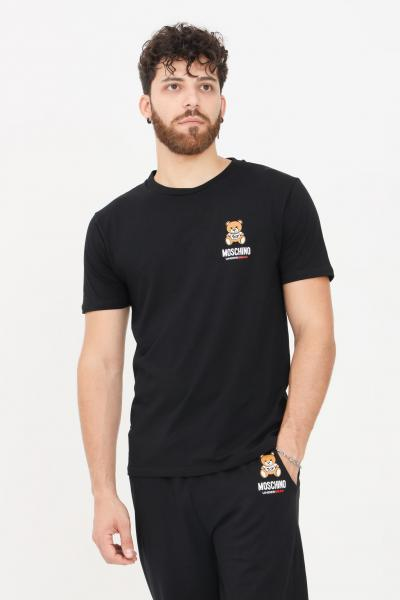 T-shirt uomo di colore nero a manica corta con logo sul fronte  T-shirt   A192481030555