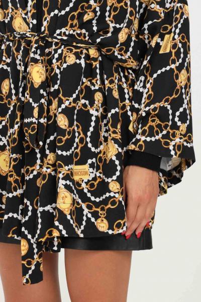 MOSCHINO Cardigan donna oro moschino con stampa allover e cintura in vita  Cardigan   A520190021555