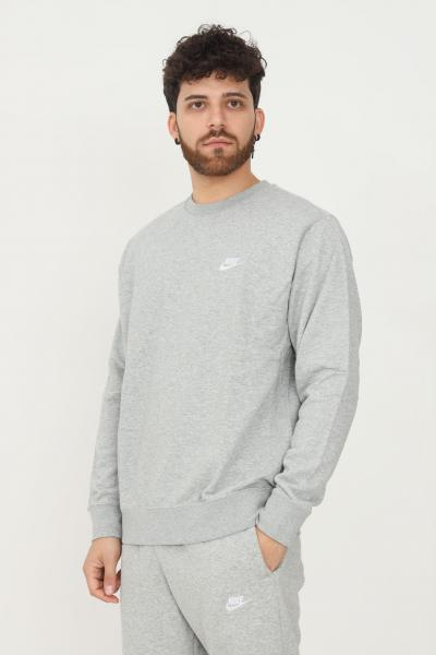 NIKE Felpa uomo grigio nike modello girocollo con ricamo logo a contrasto  Felpe | BV2666063