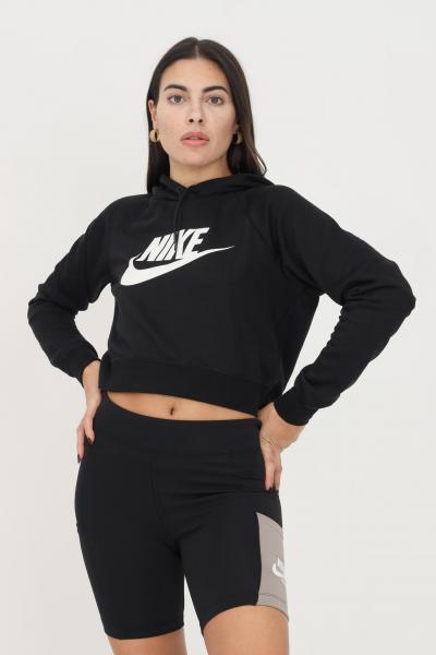 NIKE Felpa donna nero nike con cappuccio taglio crop  Felpe | CJ6327010