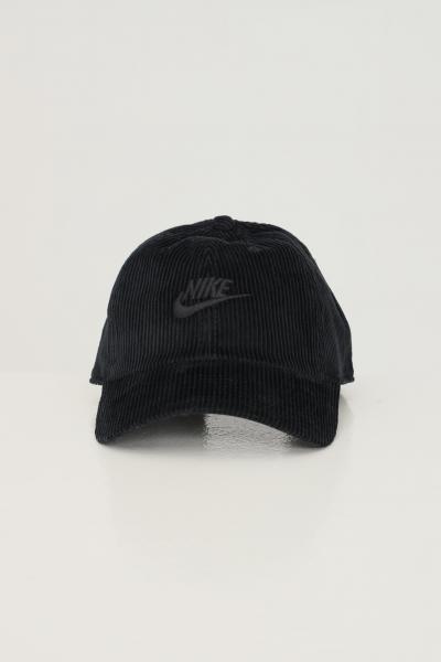NIKE Berretto unisex nero nike a coste in velluto con ricamo logo frontale tono su tono  Cappelli   DC401501