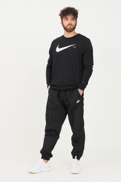 Pantaloni uomo nero con logo a contrasto  Pantaloni | DD5219010
