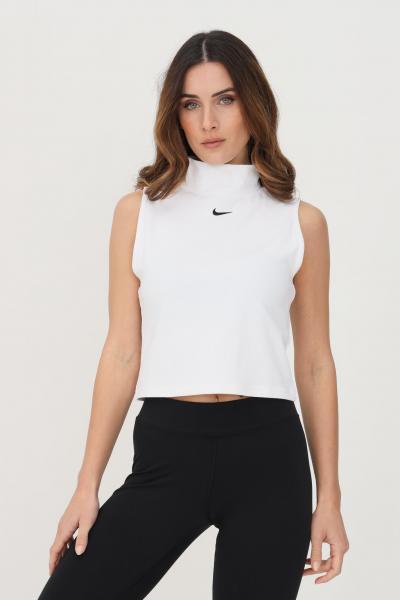 NIKE Top donna bianco nike sport con ricamo logo a contrasto  Top | DD5880100
