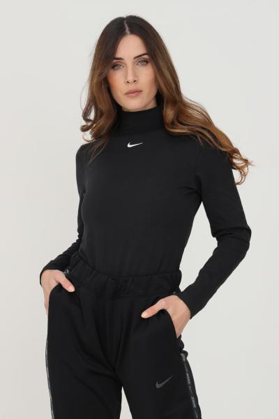 NIKE T-shirt donna nero nike a manica lunga con ricamo logo frontale  T-shirt | DD5882010