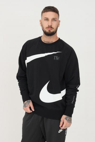 NIKE Felpa nike sportswear swoosh uomo nero girocollo con logo a contrasto  Felpe | DD5993010