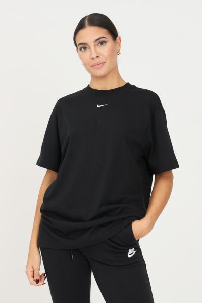 NIKE T-shirt donna nero nike a manica corta con mini ricamo logo a contrasto frontale  T-shirt | DH4255010