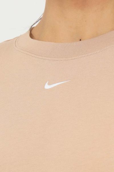 NIKE T-shirt donna beige nike a manica corta con mini ricamo logo a contrasto frontale  T-shirt | DH4255200