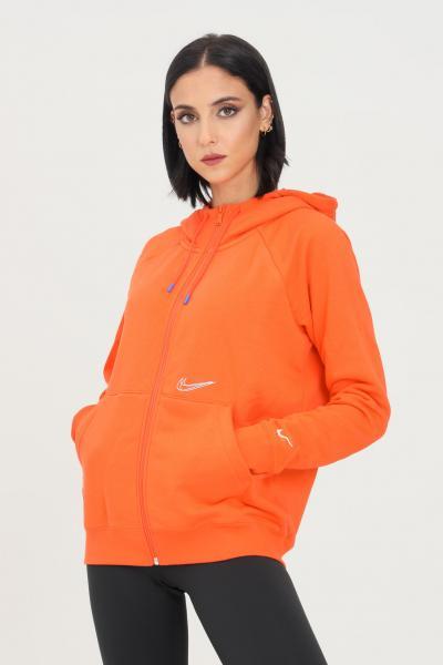 NIKE Felpa donna arancio nike con zip e cappuccio  Felpe | DJ4120869